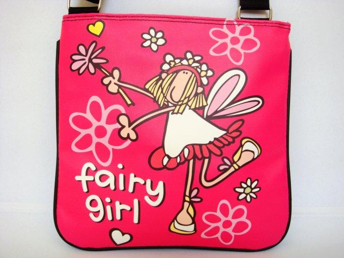 Fairy Girl Cartoon Pink Art Messenger Sling Bag Purse