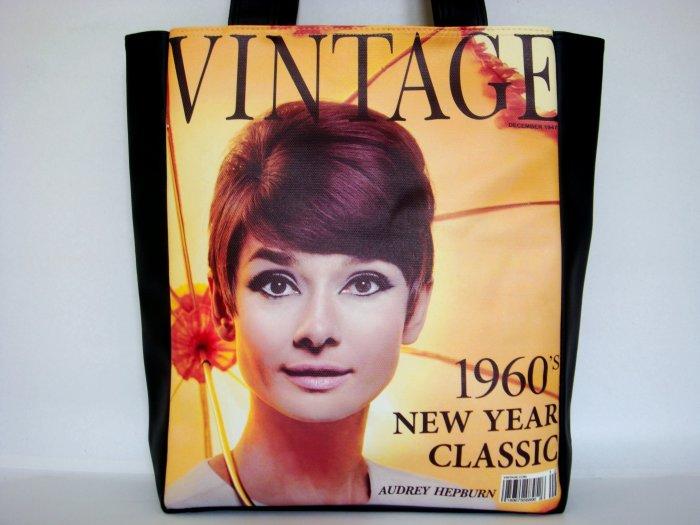 Audrey Hepburn Vintage Magazine 1960s Large Tote Shoulder Bag Purse