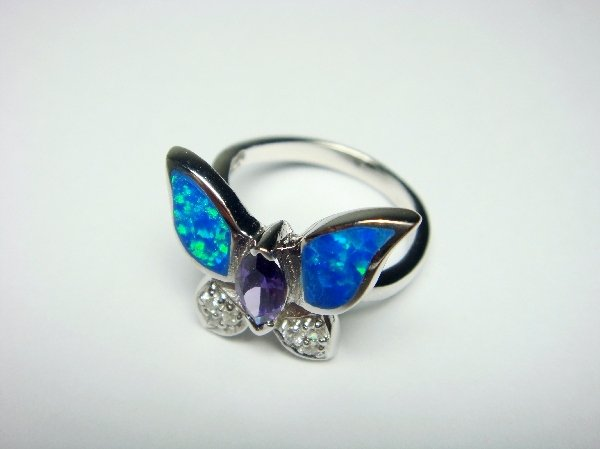 925 Sterling Silver Ring Hawaiian Blue Butterfly Opal & CZ
