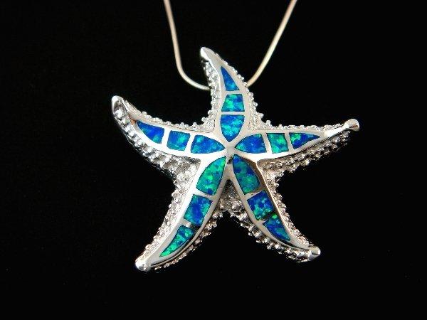 925 Sterling Silver Pendant Hawaiian Blue Inlay Opal Starfish 3D