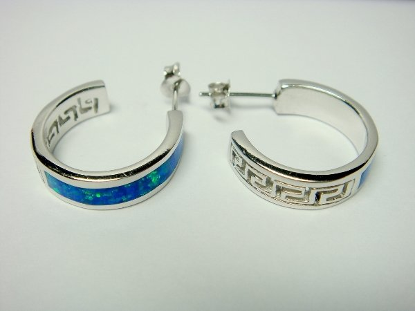 925 Sterling Silver Earrings Hoop Stud Hawaiian Blue Opal Greek Key