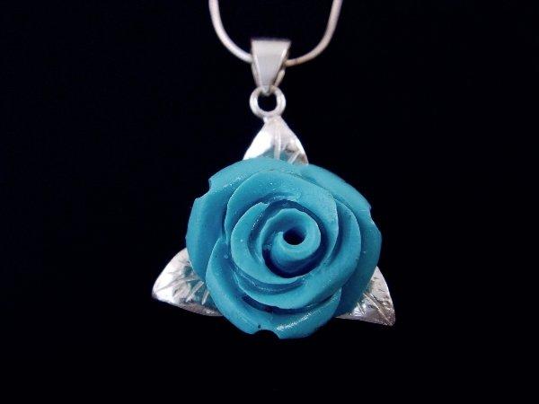 925 Sterling Silver Pendant Coral Blue Rose Flower Leaf