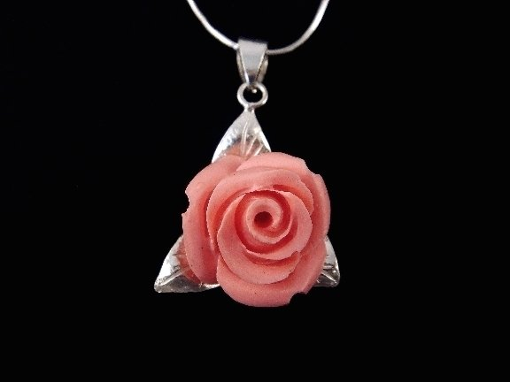 925 Sterling Silver Pendant Coral Pink Rose Flower Leaf