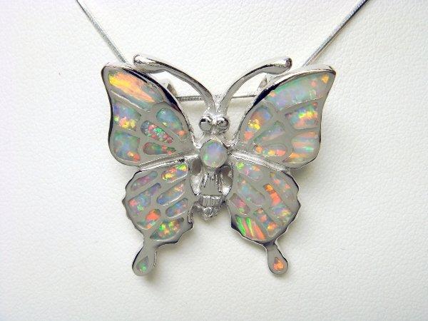 925 Sterling Silver Pendant Hawaiian Red Green Opal Big Butterfly Monark