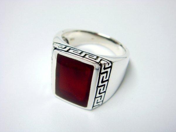 925 Sterling Silver Men's Rectangle Carnelian Greek Key Ring