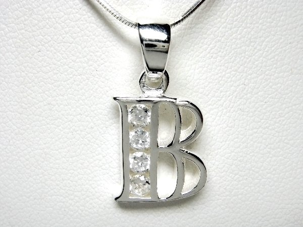 925 Sterling Silver CZ Initial Letter B Charm Pendant
