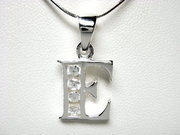 925 Sterling Silver CZ Initial Letter E Charm Pendant