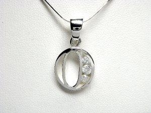 925 Sterling Silver CZ Initial Letter O Charm Pendant