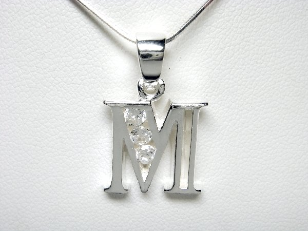 925 Sterling Silver CZ Initial Letter M Charm Pendant