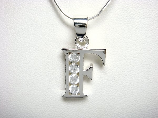 925 Sterling Silver CZ Initial Letter F Charm Pendant