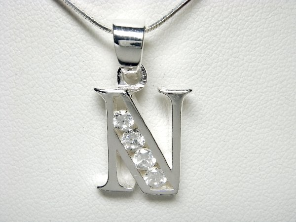 925 Sterling Silver CZ Initial Letter N Charm Pendant