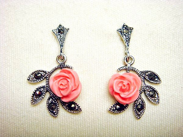925 Silver Stud Earrings Coral Pink Rose & Marcasite