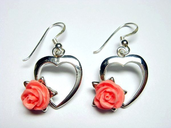 925 Sterling Silver Dangle Heart Earrings Coral Pink Rose