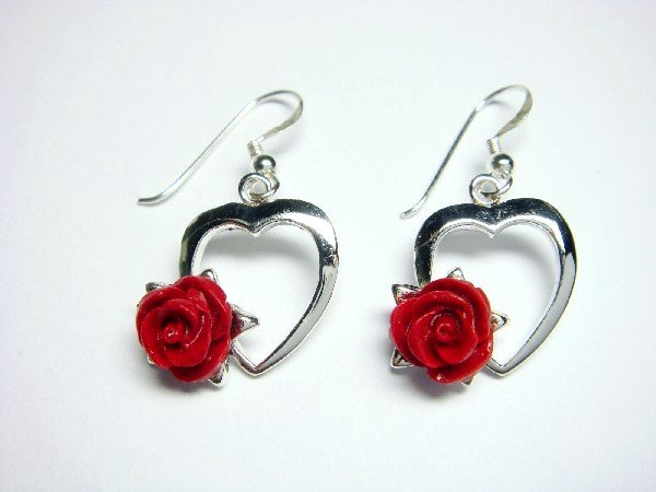 925 Sterling Silver Dangle Heart Earrings Coral Red Rose
