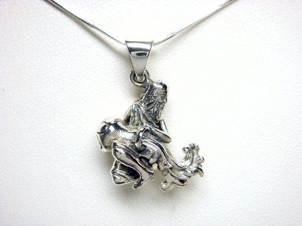925 Sterling Silver Zodiac Star Sign AQUARIUS Animal Pendant