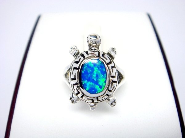 925 Sterling Silver Hawaiian Blue Opal Turtle Greek Key Ring