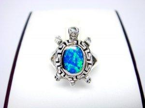 925 Sterling Silver Hawaiian Blue Opal Turtle Greek Key Ring