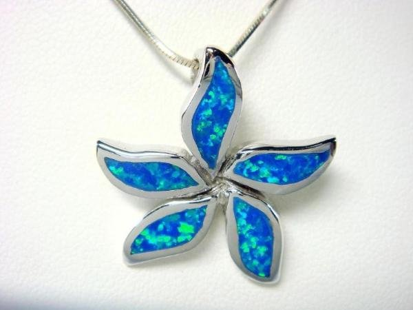 925 Sterling Silver Pendant Hawaiian Blue Opal Starfish Flower