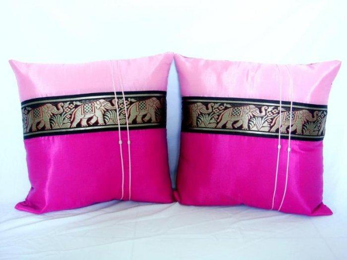 Pair of Thai Silk Pink Big Elephant Throw Cushion Pillow Cover Sofa