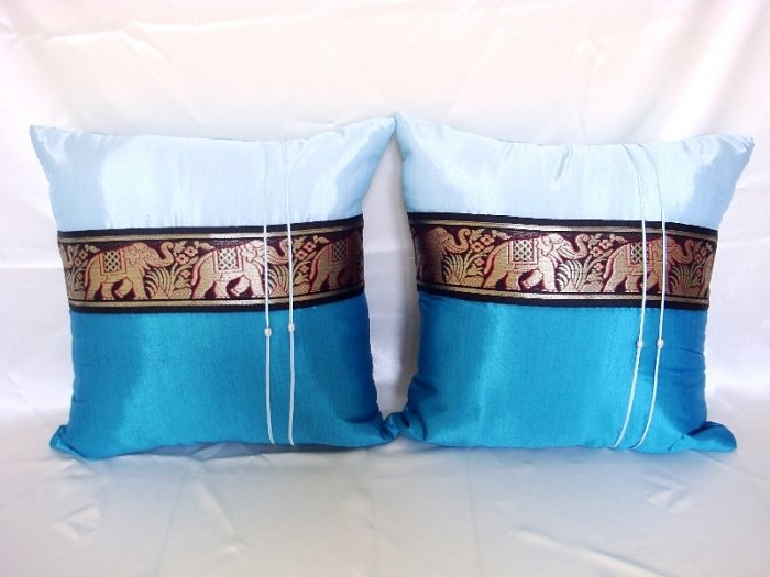 Set of 2 Thai Silk Topaz Blue Big Elephant Design Throw Cushion Pillow Cover