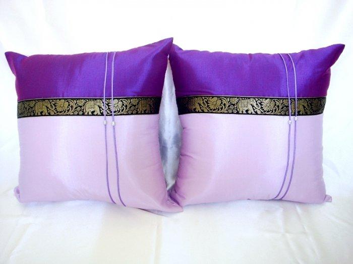 Set of 2 Thai Silk Purple Elephant Design Throw Cushion Pillow Cover