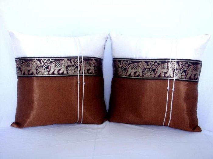Pair of Thai Silk Brown Big Elephant Design Throw Cushion Pillow Cover
