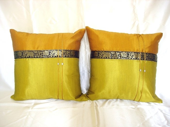 Set of 2 Thai Silk Gold GreenYellow Elephant Design Throw Cushion Pillow Covers