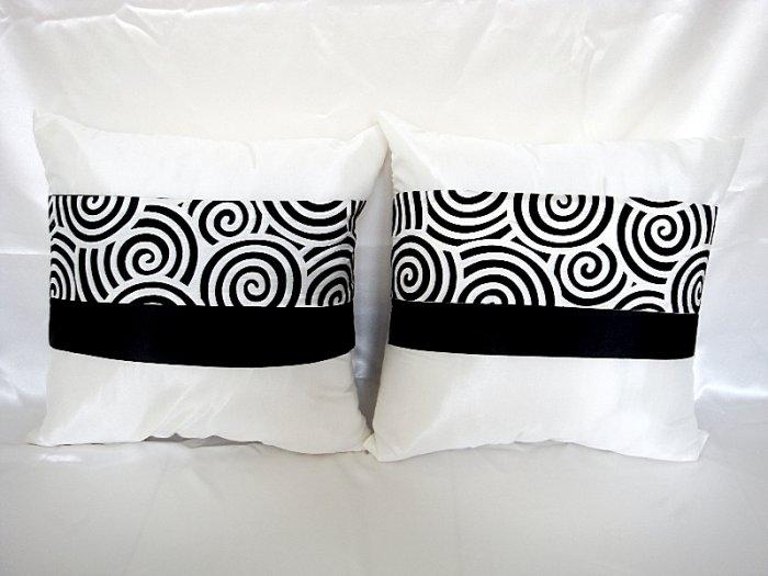 Set of 2 Thai Silk White Color Throw Cushion Pillow Cover