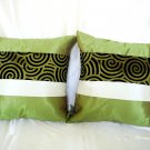 Set of 2 Thai Silk Green Throw Cushion Pillow Cover