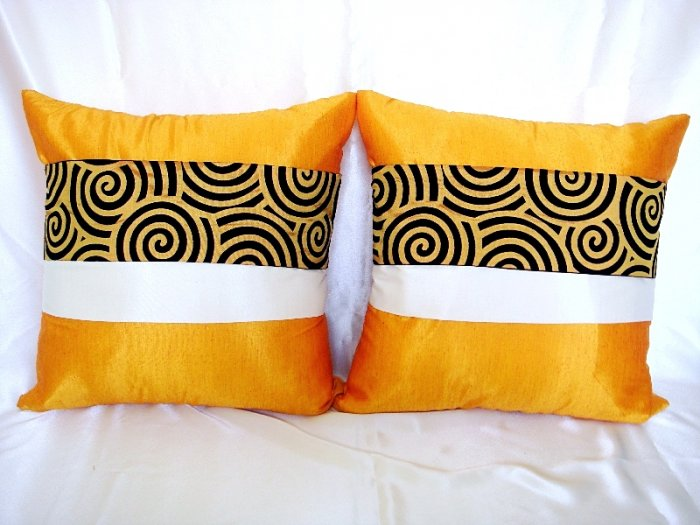 Set of 2 Thai Silk Orange Throw Cushion Pillow Cover