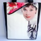 Audrey Hepburn Vintage Hat Retro Large Tote Bag Purse