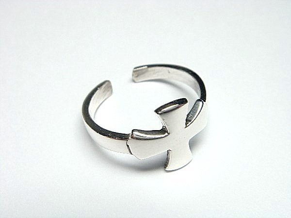 925 Sterling Silver Iron Cross Adjustable High Polish Pinky Toe Ring