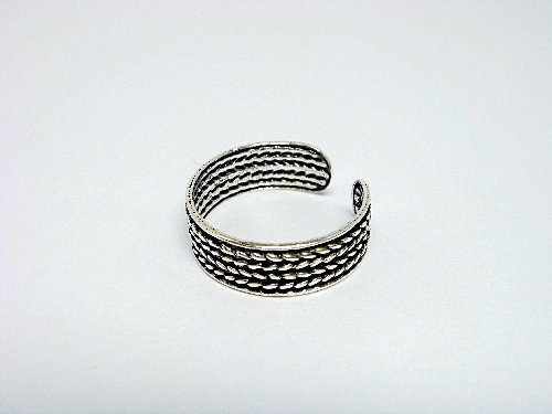 925 Sterling Silver Laurel Wreath Oxidized Adjustable Toe Ring