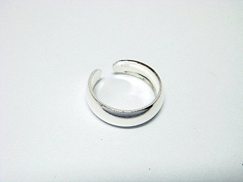 925 Sterling Silver Classy Rounded Band Adjustable Toe Ring
