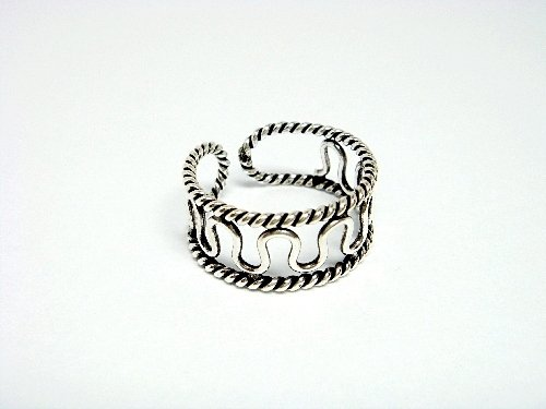 925 Sterling Silver Filigree Design Adjustable Size Toe Ring