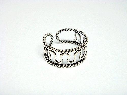 925 Sterling Silver Filigree Design Adjustable Size Toe Ring