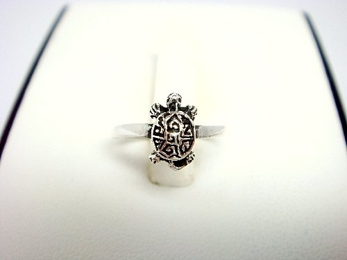 925 Sterling Silver Turtle Oxidized Adjustable Toe Ring