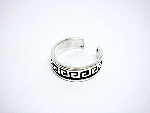 925 Sterling Silver Greek Key Oxidized Adjustable Toe Ring