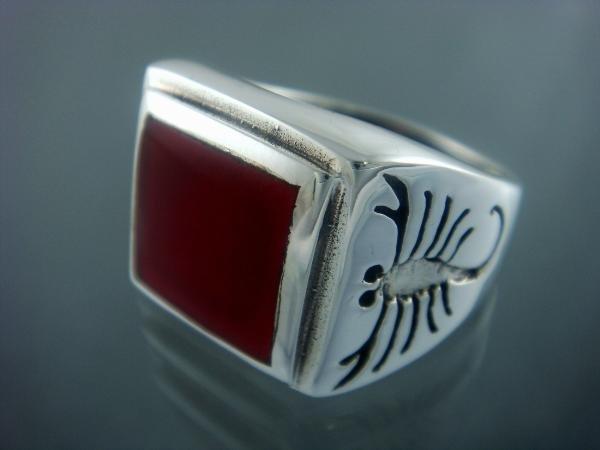 925 Sterling Silver Mens Carnelian Big Scorpion Zodiac Art Ring