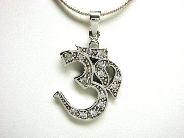 925 Sterling Silver Hindu Om Aum Buddhism CZ Pendant