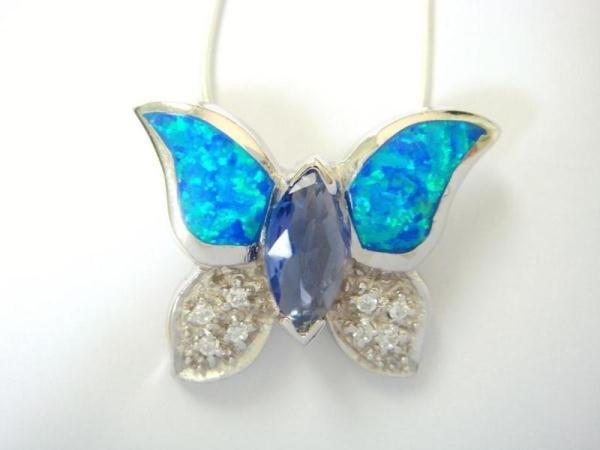 925 Sterling Silver Hawaiian Blue Opal CZ Butterfly Pendant
