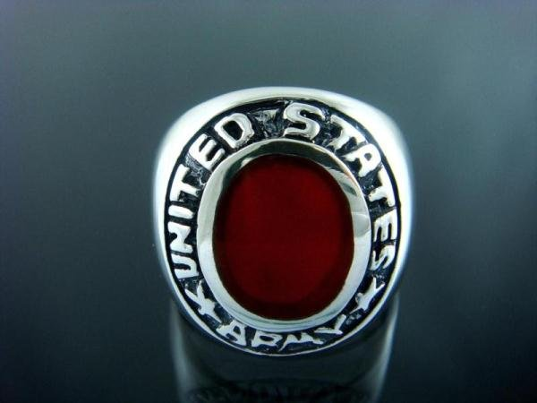 925 Sterling Silver Men's Oval Carnelian United States Army Ring