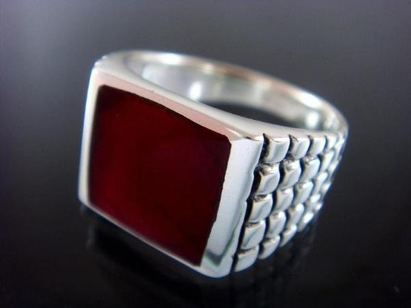 925 Sterling Silver Men's Square Carnelian Engraved Sides Ring 12gr