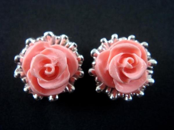 925 Sterling Silver Stud Earrings Flower Coral Pink Rose