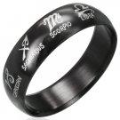 316 Black Polished Stainless Steel Zodiac Symbols Astrology Ring