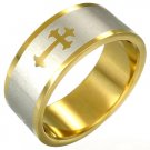 316L Gold Plated Stainless Steel Gothic Cross Ring