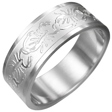 316L Surgical Stainless Steel Scorpion Zodiac Ring Size 7