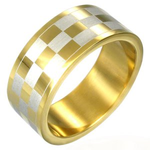 316 Gold Plated Stainless Steel Checker Design Flat Band Ring