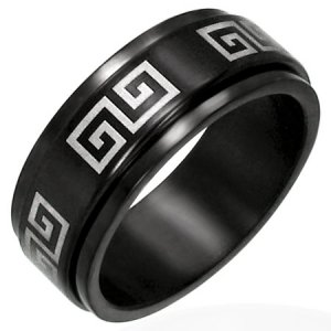 316L Black Polished Stainless Steel Greek Key Meander Spinner Ring