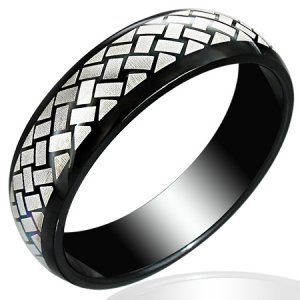 316 Black Stainless Steel Rope Style Braided Unisex Fashion Ring